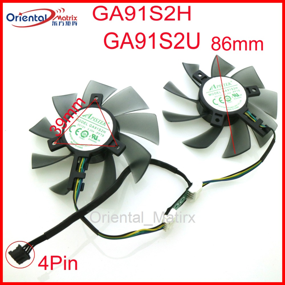 Free Shipping GA91S2H GA91S2U -PFTA DC12V 0.40A 4Pin 86mm VGA Fan For GEFORCE GTX1080 GTX1070 GTX1060 Graphics Card Cooling Fan free shipping 2pcs lot 86mm vga fan 4pin for galaxy gtx950 960 gtx1060 graphics card cooler cooling fan