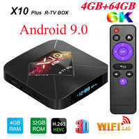 R-TV SCATOLA X10 Plus. Android 9.0 Smart TV BOX Allwinner H6 2.4G WiFi 4GB di RAM 32 GB/ 64GB di ROM Set Top Box USB3.0 H.265 6K Media Player
