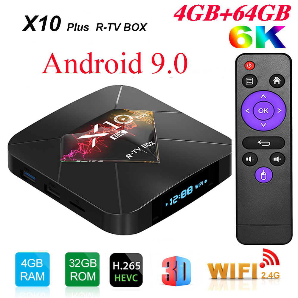 R-TV BOX X10 Plus Android 9.0 Smart TV Box Allwinner H6 2.4G WiFi 4GB RAM 32 GB/64 GB ROM décodeur USB3.0 H.265 6K lecteur multimédia