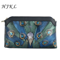 HJKL High Quality National Style Cowhide Handbags Painted Peacock Pattern Genuine Leather Shoulder Bag Evening Clutch Bag 2018