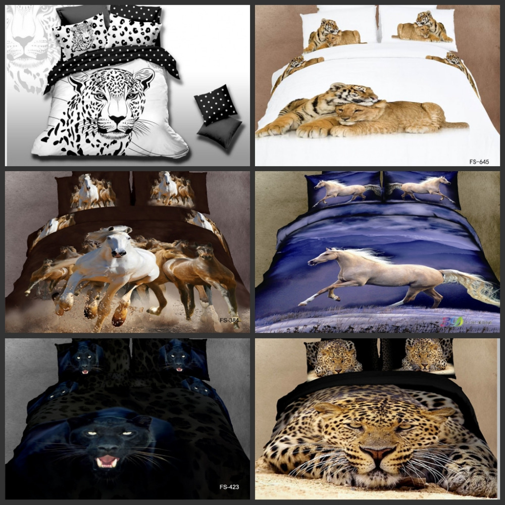 Promotion Animals Oil Painting Style 3d Bedding Sets For
