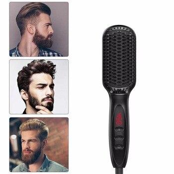 الرجال سريعة اللحية فرشاة لفرد الشعر الحديد مكواة فرد الشعر فرش أدوات التصميم مع LCD مشط شعر ذقن التصميم وفك تشابك مشط