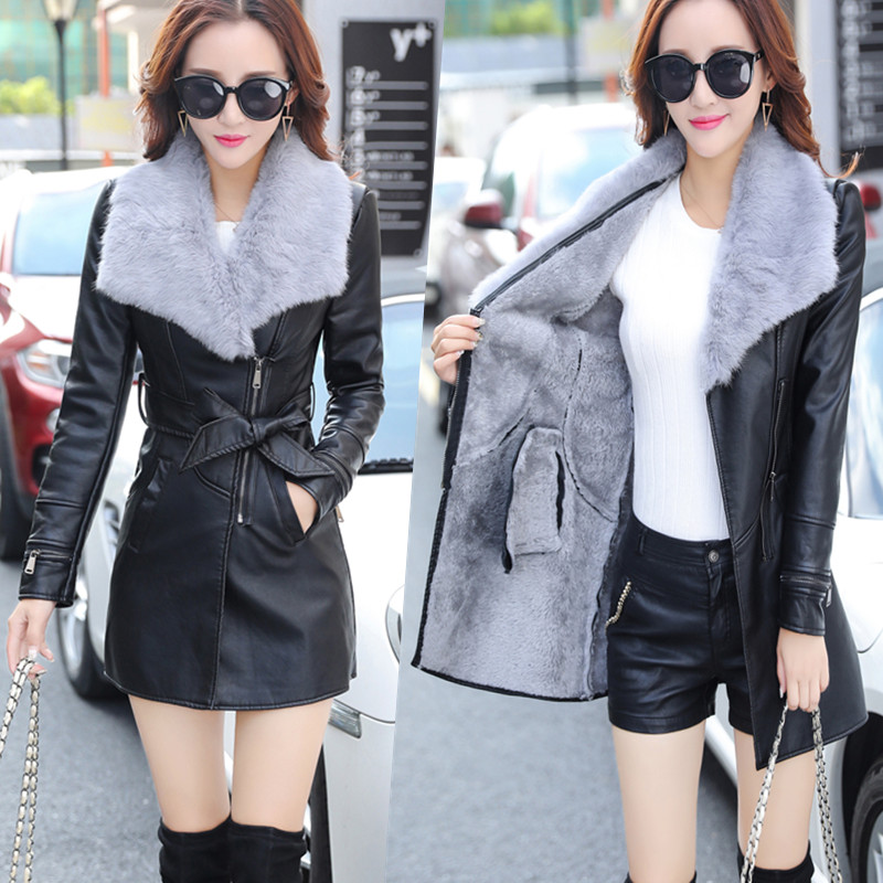 Fur Collar Women Long   Leather   Jacket Coat Female Winter Long Sleeve   Suede   Fur Jacket Women Bow Motorcycle Jacket women parkas