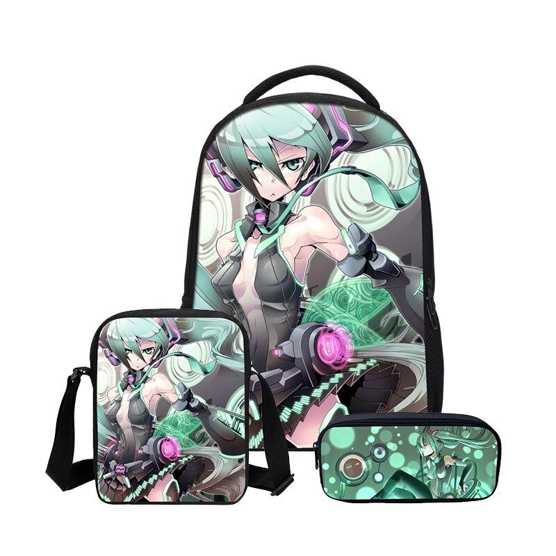 2019 Neue Hatsune Miku Teenager Schule Rucksäcke Mode 3 Pcs Set Schulter Taschen Bleistift Fall Mädchen Bookbag Frauen Casual Mochila