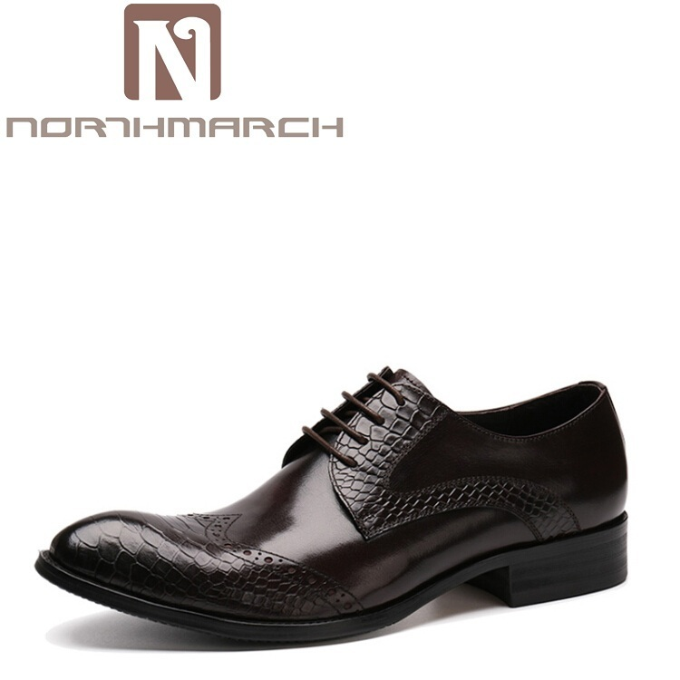 цена NORTHMARCH Men Business Leather Derby Shoes High Quality Formal Dress Shoes Man Pointed Toe Brogue Carved Shoes For Office онлайн в 2017 году