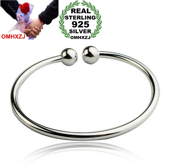 OMHXZJ Wholesale Fashion Jewelry Round Smooth Bead Woman Kpop Star Opening 925 Sterling Silver Adjustable Bracelet Bangles SZ05