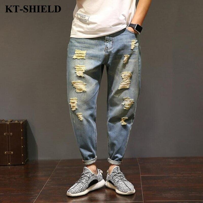 ФОТО 2017 New Hip Hop Men Jeans Brand designer Men's Casual Harem Pants Distressed Denim Ripped Jean Pants Trousers Big Size