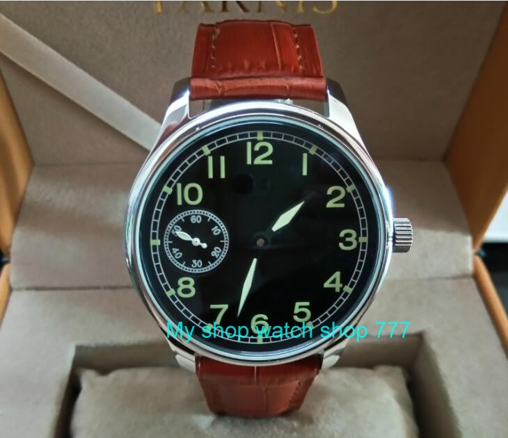 44mm PARNIS black dial Asian 6497 17 jewels Mechanical Hand Wind movement mens watch green luminous Mechanical watches zdgd27844mm PARNIS black dial Asian 6497 17 jewels Mechanical Hand Wind movement mens watch green luminous Mechanical watches zdgd278