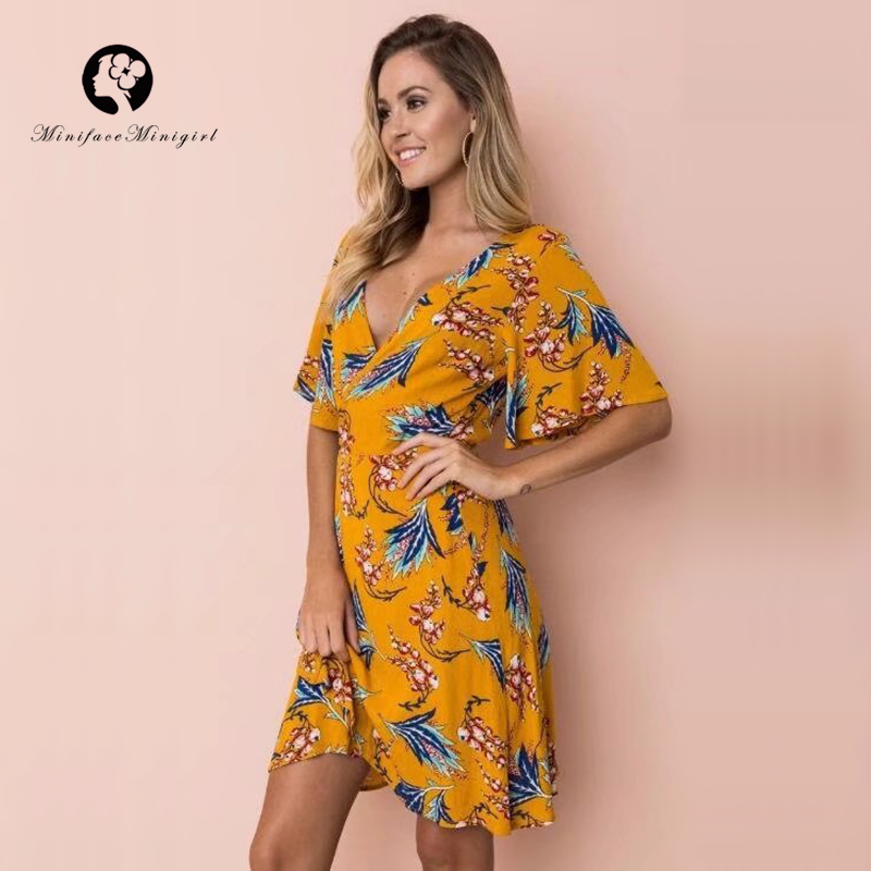 Yellow Dress Women Summer Beach Robe Femme V Neck Floral Print Mini Casual Party Dresses 2018