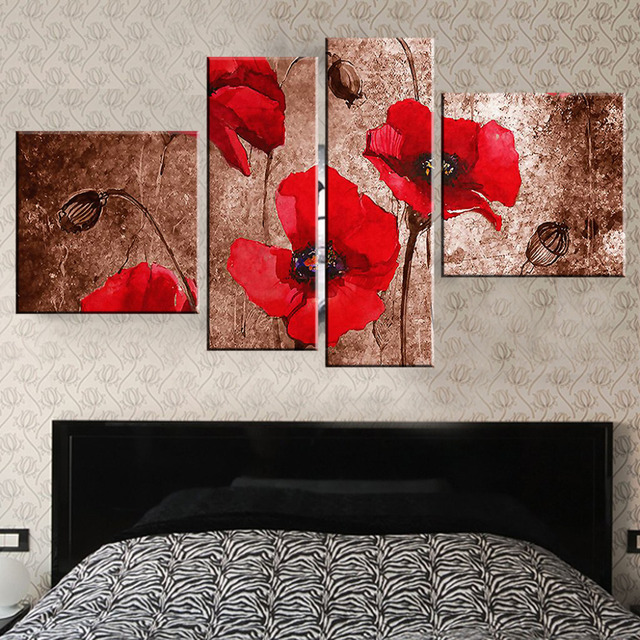 Poppy Flower oil paintings on canvas wall art pictures canvas ...