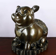 SCY Collectible bronze lion statue S0849 Chinese Fengshui bronze Copper Zodiac Year Pig Yuanbao Coin Money Wealth Statue B0403(China)
