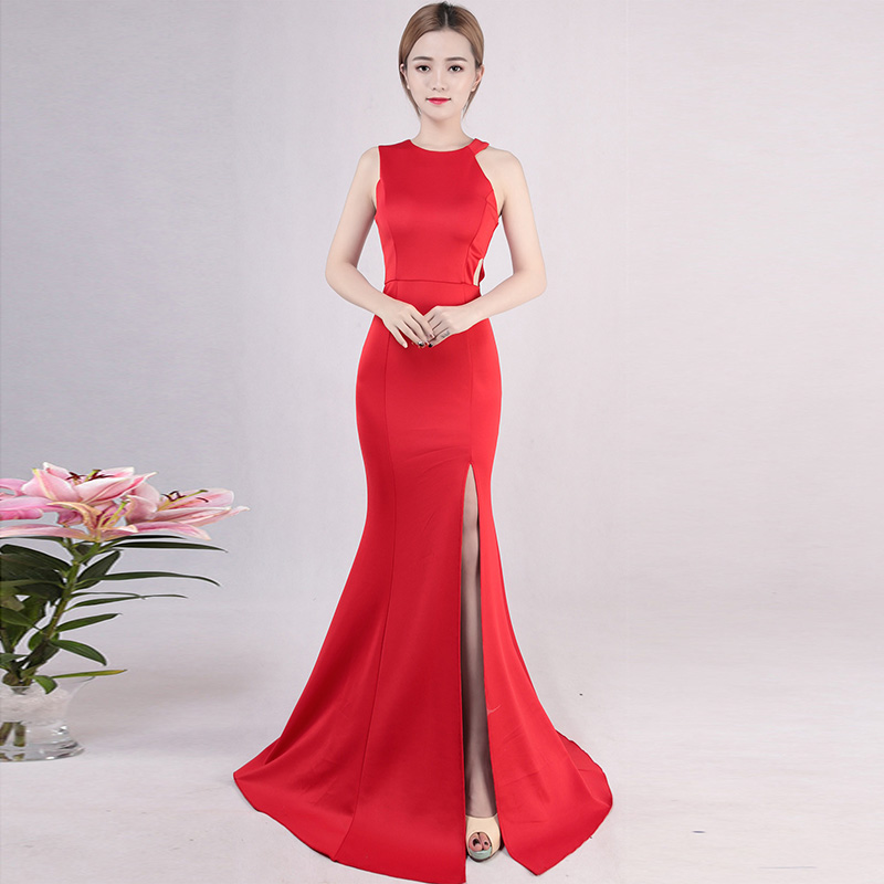 ff8415e0283 Bandage De Halter Club rouge Femmes Moulante bourgogne Robe Long Sirène  Soirée Party Robes Noir Bleu ...