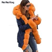 100% Real Fur Coats For Women Real Fox Fur  Coat Lining Rabbit Fur coat Plus Size Fur Parkas For Women Winter Jackets