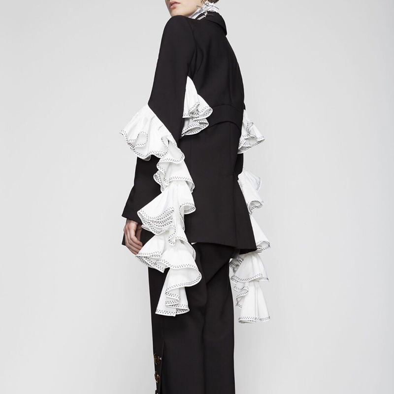 Rubans Ol Oxant À Pour 2019 Vêtements Patchwork Ruches Base Black Longues Mode De Femmes Femme Blazer Manches Noir Manteau Crq4n5aYq