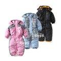 2017 bebé traje para la nieve otoño invierno Al Aire Libre impermeable Chaquetas de algodón niño pequeño mameluco ropa del mono de los niños Ropa de Esquí-desgaste
