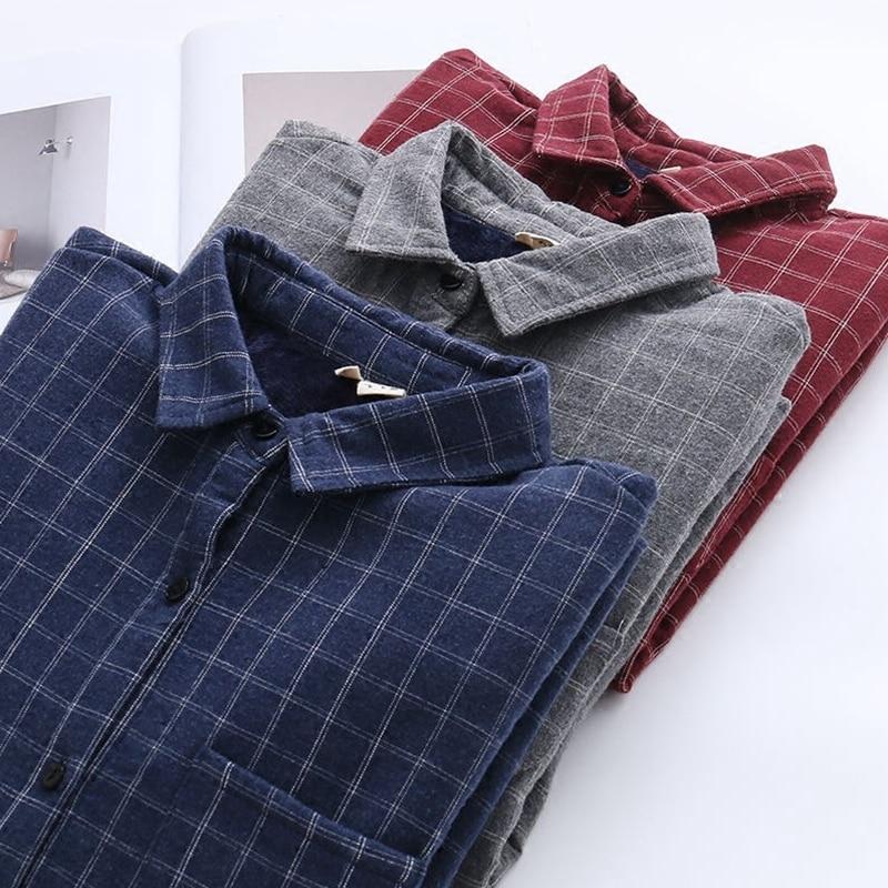 2019 autumn and winter thick women warm shirts Korean all-match Plaid Shirt Lapel loose Blouse Outwear Tops