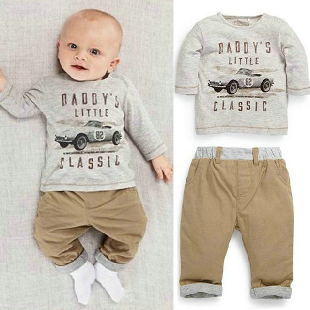 2pcs kid children baby boy long sleeve top pants set outfit spring