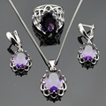 Created Purple Amethyst Zircon Silver Color Jewelry Sets For Women Christmas Necklace Pendant  Earrings Rings Free Gift Box