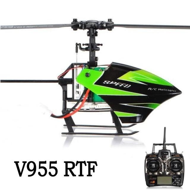 Shippping livre do controle de rádio RC avião Wltoys V955 2.4G 4CH Helicóptero de Controle Remoto RC Com Giroscópio de Três Eixos Verde V912 FX071C