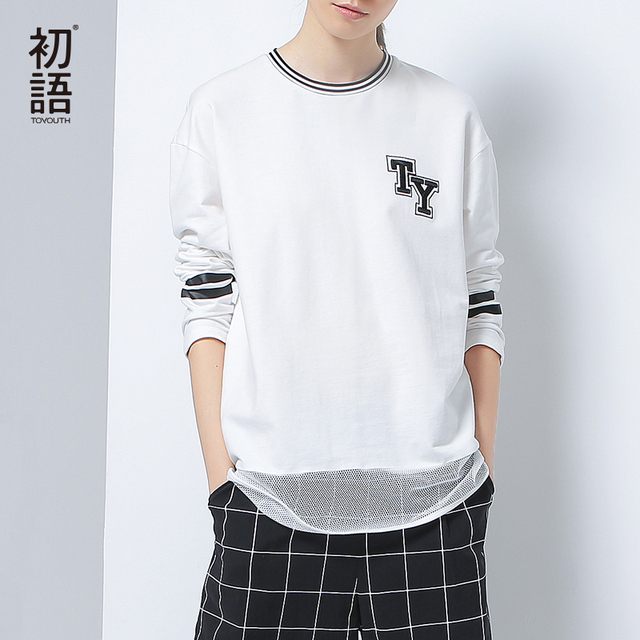 Toyouth 2017 New Arrival Women Autumn T-shirt Fashion O-Neck Net Patchwork Long Sleeve Shirt Female Letter Printed Cotton Shirt