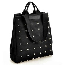 New New Fashion Unique Punk Women Canvas Handbags Vintage Rivet Top-Handle Shoulder Bag Tote Black Ladies Shopper Bag