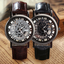 Fashion Casual Business Skeleton Watch Men Engraving Hollow Watches Dress Quartz Wristwatches Leather Strap Clock Reloj Hombre