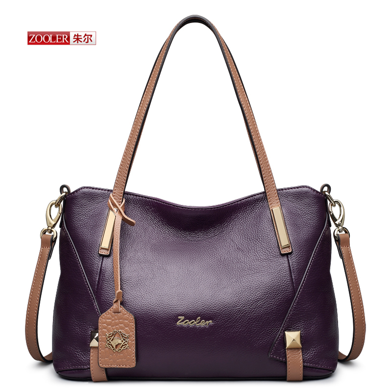ZOOLER  New arrival Genuine leather handbags purple/ black Large capacity  crossbody bags famous brand messenger bags #BC-8120 zooler genuine leather backpacks 2016 new real leather backpack for men famous brand china hot large capacity hot 65055