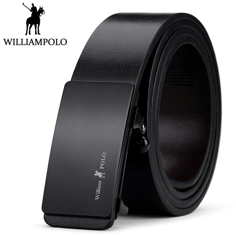 7d96d6fe29aeb Williampolo cuero genuino hombres cinturón de negocios cinturones  automáticos para hombre negro cowskin Correa diseño de lujo marido regalo