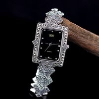 Hot Sale Top Quality Classic Thai Silver HF Bracelet Watch S925 Silver Bracelet Marseille Stone Retro Rectangular Dial Watch
