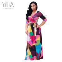 Yilia 2017 Boho Style Long Dress Women Beach Summer Dresses Floral Print Vintage Blue Maxi Vestidos