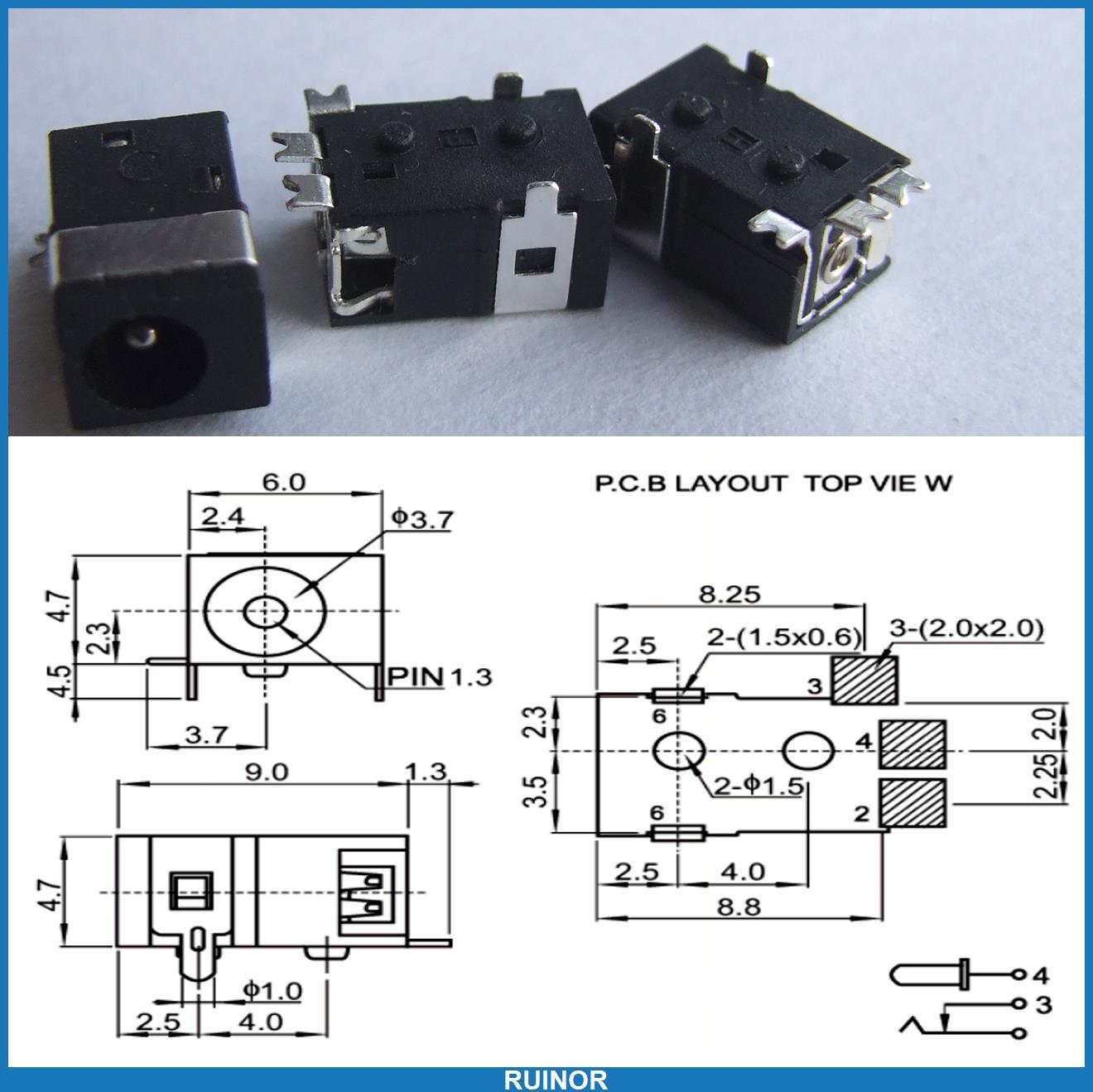 200 pièces 3.5mm x 1.3mm DC Jack Femelle pour SMD PCB Chargeur Prise D'alimentation À Souder