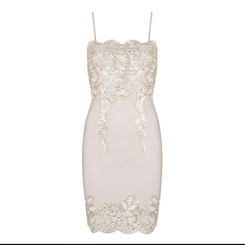 Shining Beauty Women Fashion Sleeveless beige lace spaghetti strap Bandage Dress 2017 Summer Knitted vestidos Elegant Designer polcolorit versal beige beauty 30x60