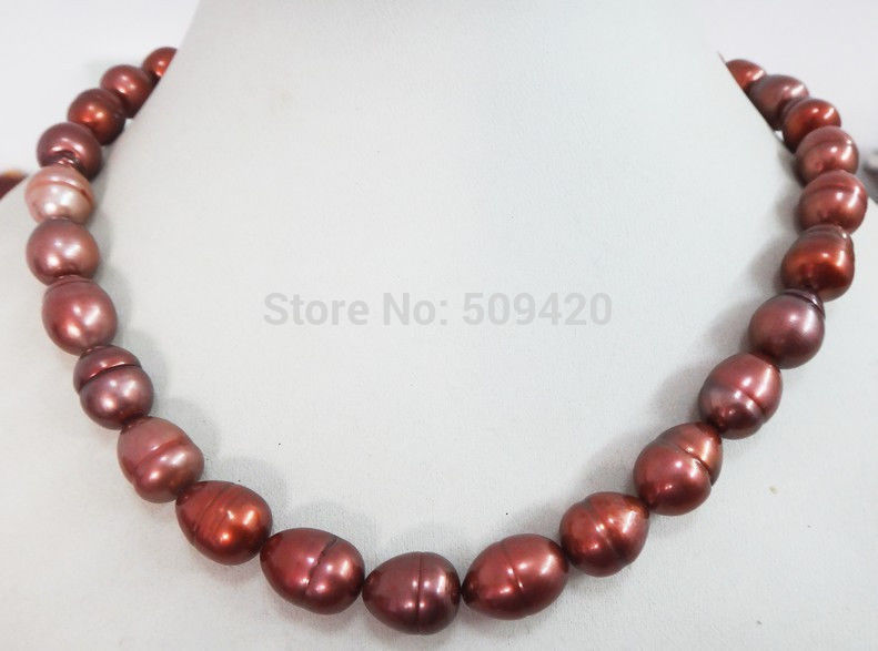 ~~ W&O653 HUGE 1812 15MM NATURAL Aus. SOUTH SEA GENUINE CHOCOLATE PEARL NECKLACE LUSTER