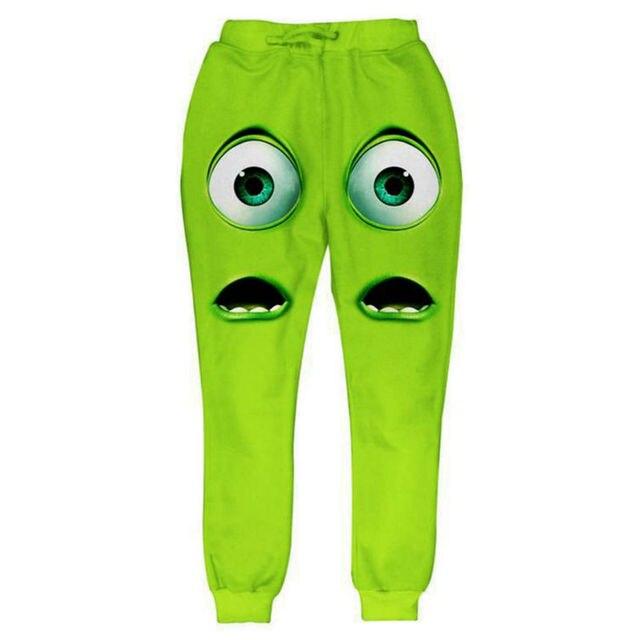 9d97fc3699b5 Śmieszne Kreskówki Dorywczo Spodnie Mężczyźni Uniwersytet Potworny 3D  Zwierząt Postaci Wydruku Spodnie Luźne Jesień Zima Spodnie