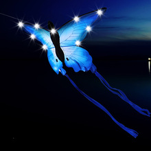 Открытый Забавный Спорт Новое поступление светодиодный фосфоресцирующий воздушный змей бабочка/животное летучие змеи с ручкой и линией хороший Летающий подарок