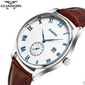 Famous Brand Original GUANQIN Watch Men Leather Luxury Sapphire Luminous Watch Waterproof Fashion Watch Clock Male Wristwatches
