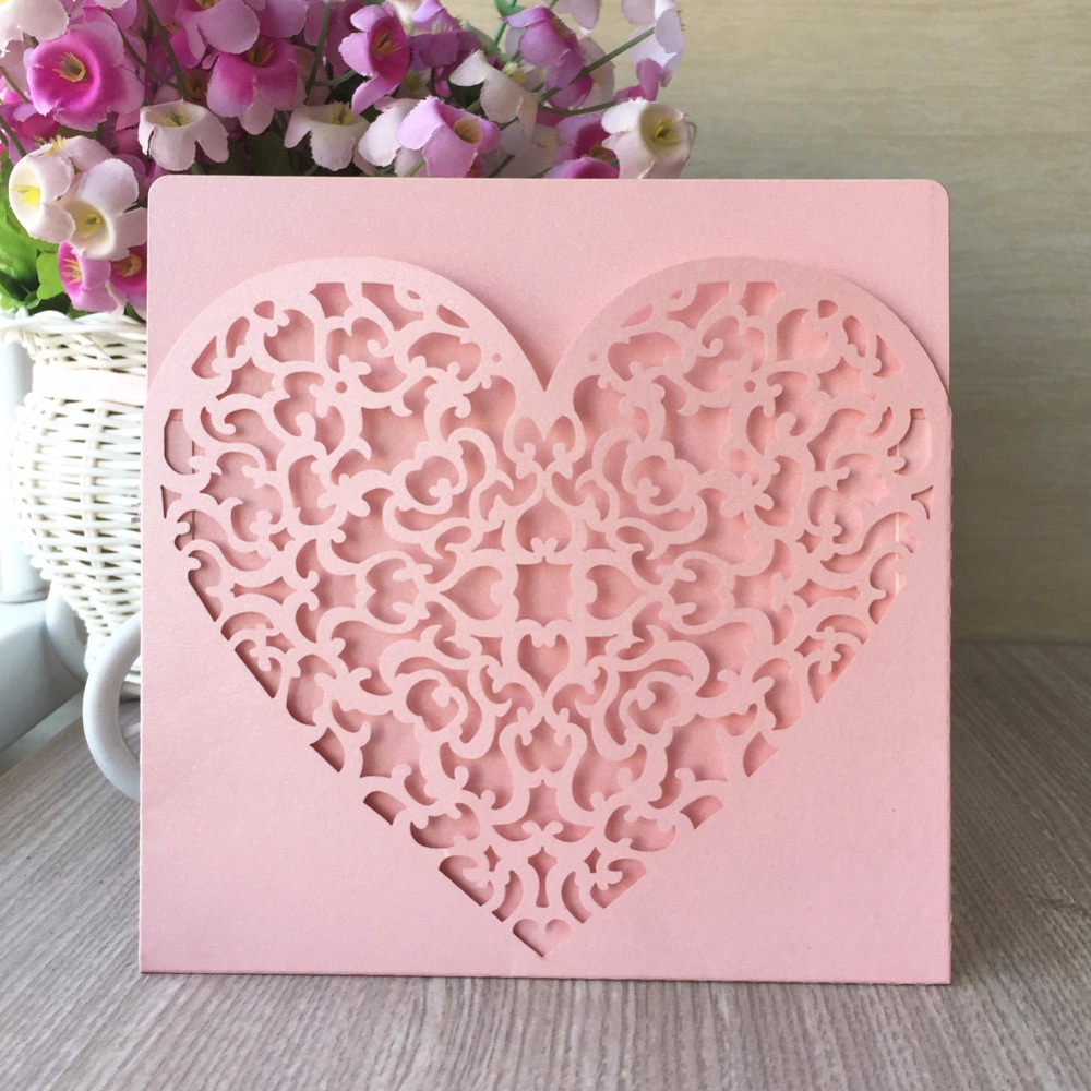 Us 26 66 14 Off 50pcs Square Peach Color Love Heart Pocket New Design Laser Cutting Wedding Invitation Card Wholesale Luxury China Suppliers In