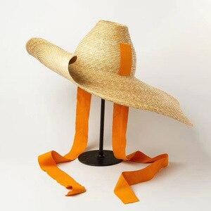 Image 2 - Kadınlar için doğal dokuma dev hasır şapka büyük ağzına kadar disket güneş şapkası yüksek Top şerit bant dev Jumbo Sombrero şapka yetişkin yaz plaj şapkası