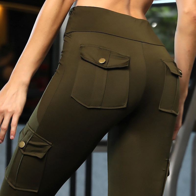 2019 Army Green High Waist Leggings For Fitness Women Push Up Skinny Cargo Pants Both Sides Pockets Workout Sports Leggings