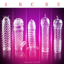 5 Models Delay Crystal Penis Sleeve Textured Extension Reusable Condoms Series for Couple Sex Products Adult Sex Toys for Men