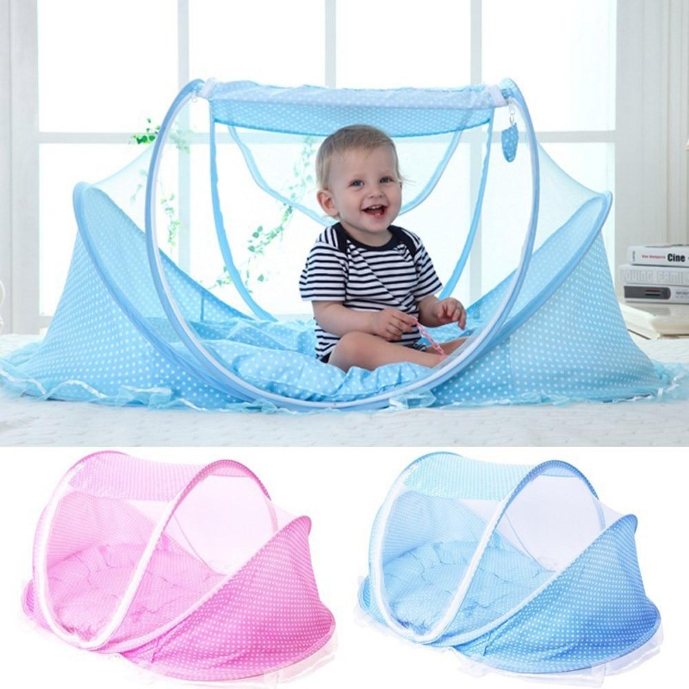 2018 Neugeborenen Baby Kinder Tragbare Faltbare Krippe Netting Schlaf Bett Moskito Netz 3 Stücke Hohe Qualität Net Matratze Kissen Mesh Tasche Gesundheit Effektiv StäRken