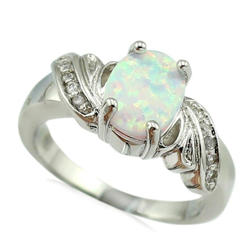 HAIMIS Hot Sale White Fire Opal Women Fashion Jewelry Opal Ring Size 7 7.5 8 8.5 OR814