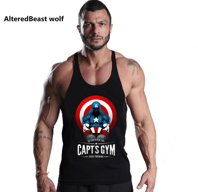 2018 Captain America Print Men   Tank     Tops   Bodybuilding Cotton   Tank     Top   Brand workout men Vest Fitness Sleeveless Shirt clothing