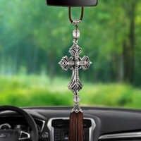 Metal i kryształ diament krzyż jezus Christian samochód lusterko wsteczne samochód wisiorek wiszące akcesoria do stylizacji samochodów Auto dekoracji