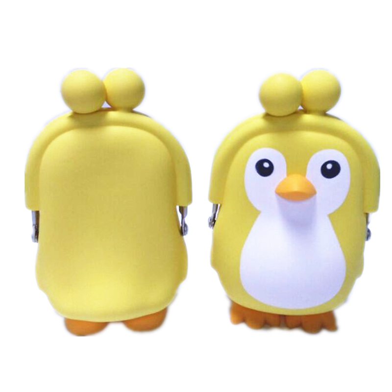 Cute Animal Silicone Mini Coin Purse Three dimensional Penguin Key bag Coin Bag Creative Earphone Bag For Children Kids Gifts in Coin Purses from Luggage Bags