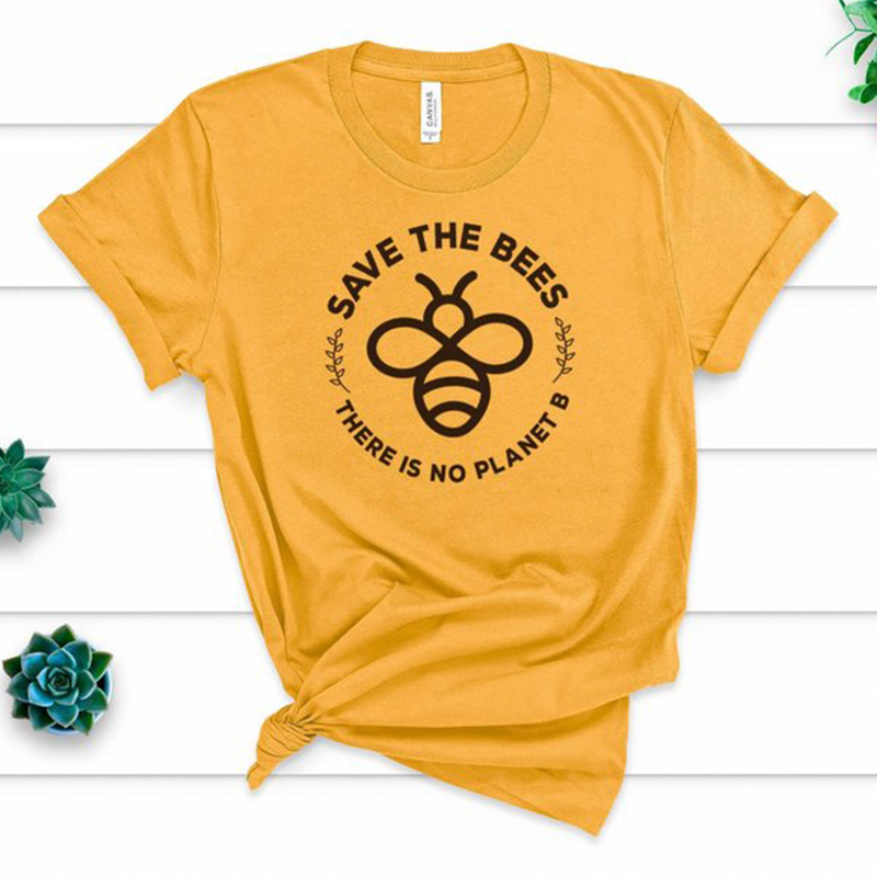 """/""""there Is No Plant /"""" Letter Print T-shirt Women Tee Tops Save The Environment"""