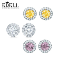 EDELL 100 925 Sterling Silver 1 1 New Genuine Geometric Round Zircon Charm Purple Elegant Earrings