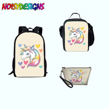 hot deal buy rainbow pony school bags haversack 3pcs/set school backpack for kids boys girls bagpacks rucksack mochila kawaii toddler bags
