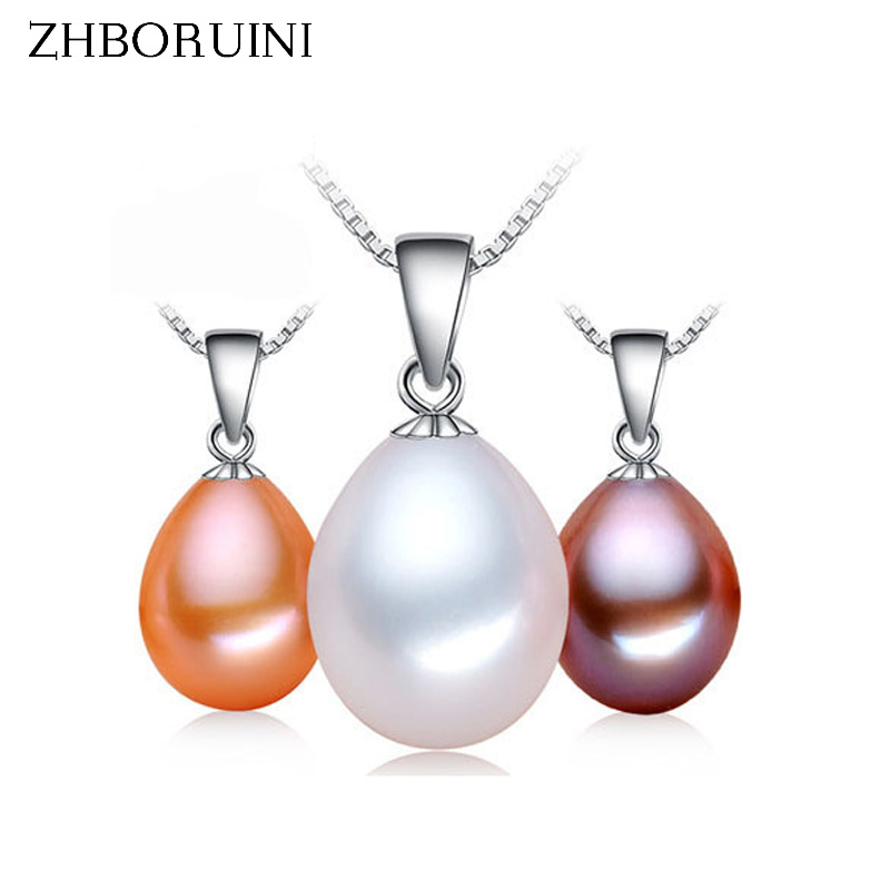 ZHBORUINI Big Sale Pärlhalsband 9-10mm Drop Form Natural Freshwater Pearl Pendant 925 Sterling Silver Smycken För Women Gift