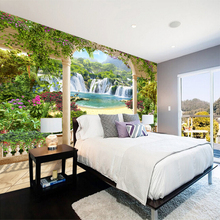 Custom any size  wall mural wallpapers Modern fashionOutdoor waterfall beach scenery Perspective Wall Sticker YBZ134